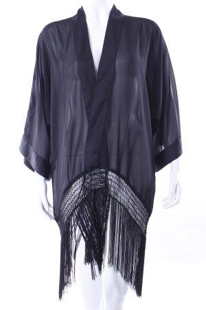 H&M Fransenkimono schwarz Kimono Festival Boho Grunge
