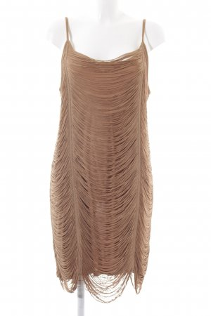 H&M Fringed Dress brown weave pattern party style