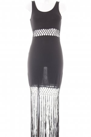 H&M Fringed Dress black beach look