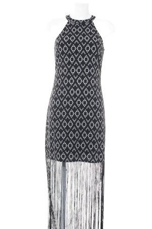 H&M Vestido con flecos negro-blanco estampado repetido sobre toda la superficie
