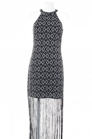 H&M Fringed Dress black-white allover print Boho look