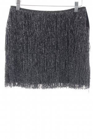 H&M Fringed Skirt black-silver-colored extravagant style