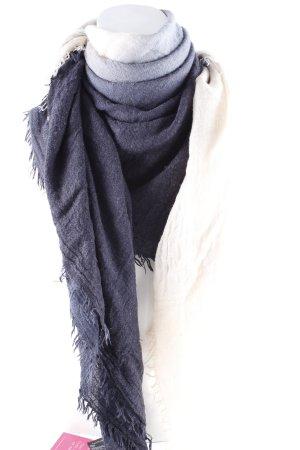 H&M Bufanda de flecos azul oscuro-crema degradado de color look casual