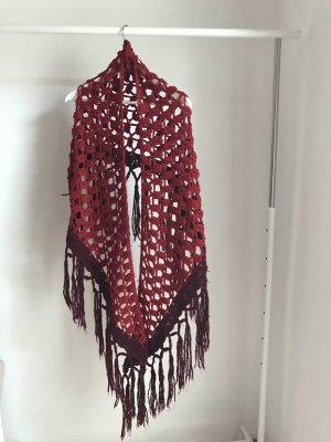 H&M Bufanda de flecos rojo oscuro-rojo neón
