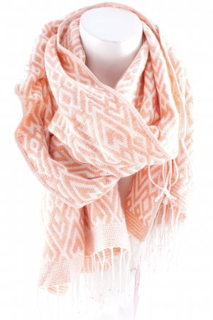 H&M Fringed Scarf white-apricot check pattern casual look