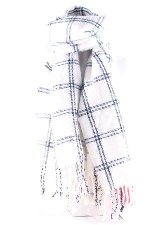 H&M Fransenschal wollweiß-dunkelblau Karomuster Casual-Look