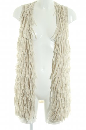 H&M Fringed Vest beige-white flecked casual look