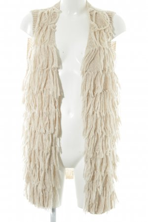 H&M Fringed Vest oatmeal-natural white flecked casual look