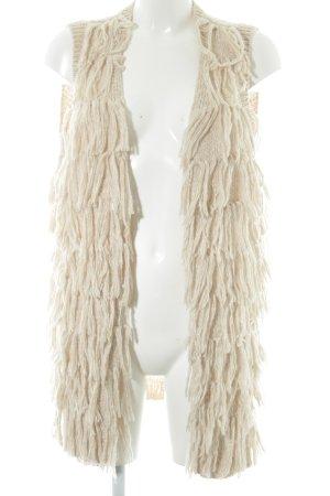 H&M Franjevest licht beige-wolwit gestippeld casual uitstraling