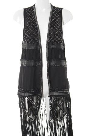 H&M Fransenweste schwarz extravaganter Stil