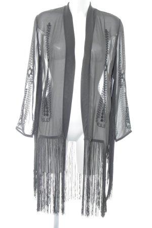 H&M Fransenweste taupe-schwarz minimalistischer Stil
