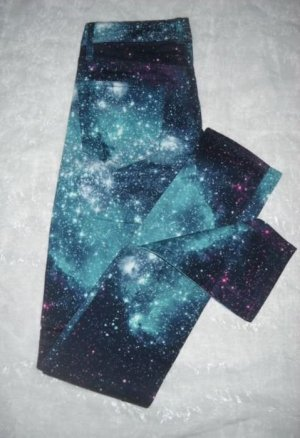 H&M Galaxy Sterne Jeans Hose Hipster lang türkis blau lila 32 34 XXS XS Neu