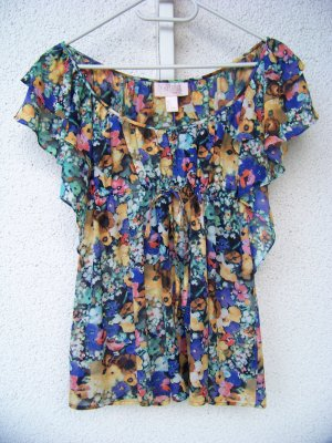 H&M Garden Collection Bluse geblümt mit Flügelärmel in 34
