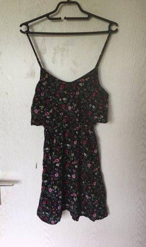 H&M geblümtes Sommerkleid Blumenkörbe Coachella XS 34 schwarz Blumenmuster floral
