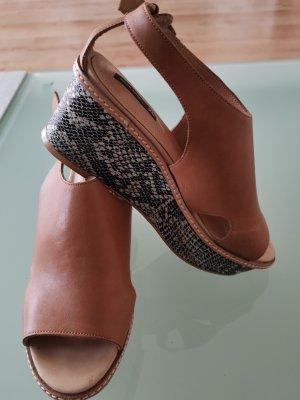 H&M Platform High-Heeled Sandal grey brown-light brown