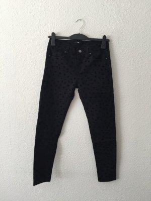 H&M gepunktete Hose schwarz 36