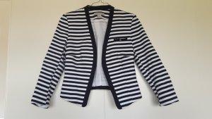 H&M gestreifter Blazer offen Marinelook weiß dunkelblau Jersey Gr. 36