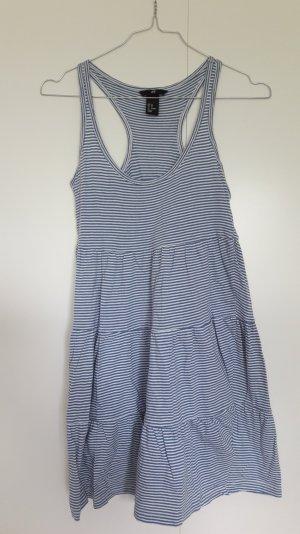 H&M gestreiftes Kleid ausgestellt weiß blau Volant Gr. XS