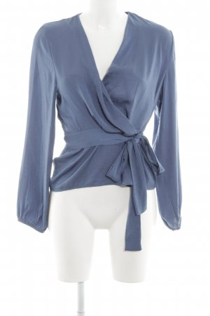H&M Glanzbluse neonblau Business-Look