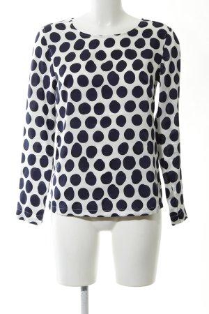 H&M Glanzende blouse wit-blauw gestippeld patroon zakelijke stijl