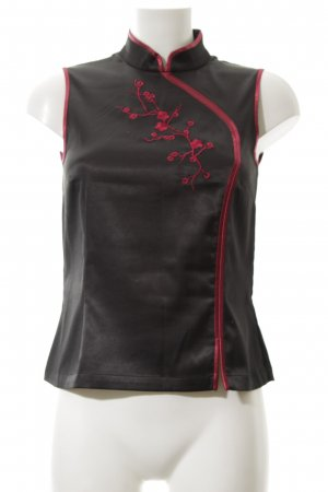 H&M Glanzende blouse zwart-rood klassieke stijl