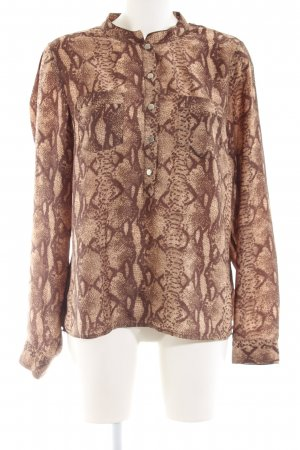 H&M Splendor Blouse brown-natural white abstract pattern business style