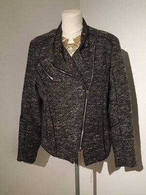 H&M Glitzer-Blazer Jacke Gr. 44 silber/ schwarz Bikerjacke