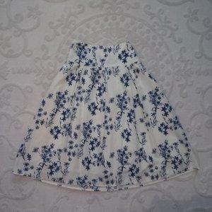 H&M Jupe évasée crème-bleu foncé