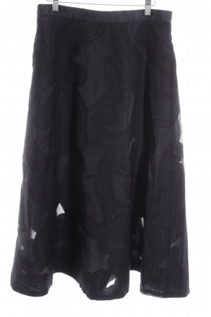 H&M Falda acampanada negro estampado floral elegante
