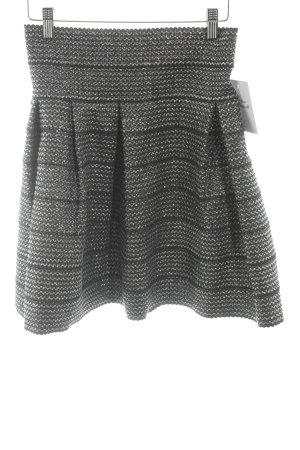 H&M Jupe évasée noir-argenté moucheté style mouillé