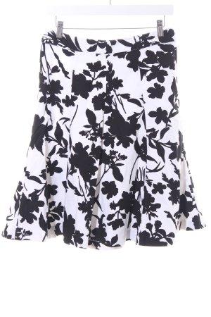 H&M Falda acampanada negro-blanco estampado floral elegante