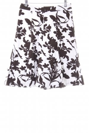 H&M Falda acampanada blanco-marrón oscuro estampado floral estilo «business»