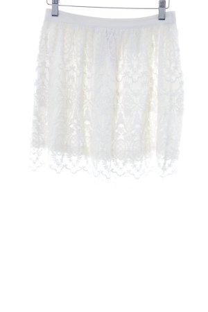 H&M Falda acampanada blanco puro Mezcla de patrones look casual