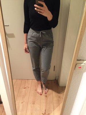 H&M graue sportliche High Waist Hose mit Gummizug