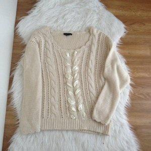H&M grobstrick Pullover Creme Pulli Zopfmuster vintage blogger 34 36 S Wolle