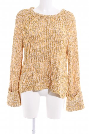 H&M Coarse Knitted Jacket dark yellow-white flecked casual look