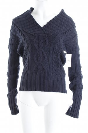 H&M Grobstrickpullover dunkelblau Zopfmuster Casual-Look