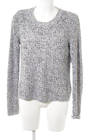 H&M Grobstrickpullover schwarz-weiß meliert Casual-Look