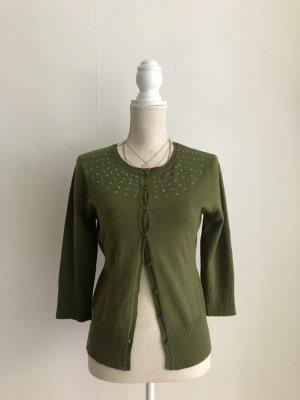 H&M grüner Cardigan in M mit Perlen Pailletten am Ausschnitt