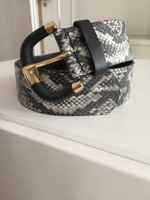 H&M Gürtel breit Python Schlangenmuster Gr. L schwarz gold silber