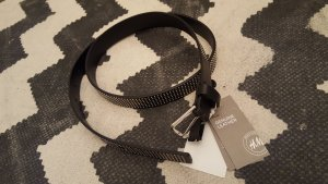 H&M Cinturón de cuero negro-color plata Cuero