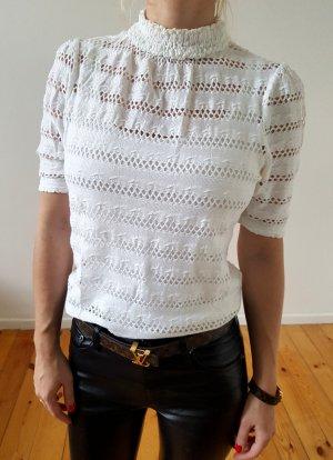 H&M Häkel Bluse XS S 34 36 Spitze weiß Rollkragen Peplum Shirt Longshirt Oberteil Tunika Top