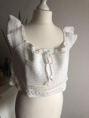 H&M Häkel Top Crop Top 40 L neu creme weiß Stickerei Crochet Sommer
