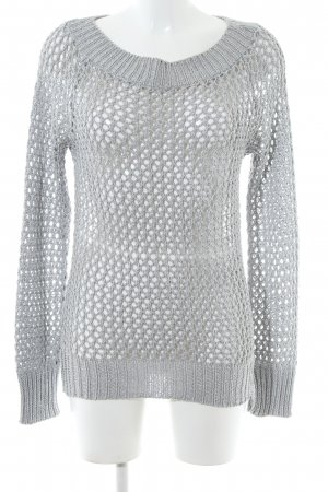 H&M Crochet Sweater light grey casual look