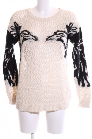 H&M Crochet Sweater cream-black themed print casual look
