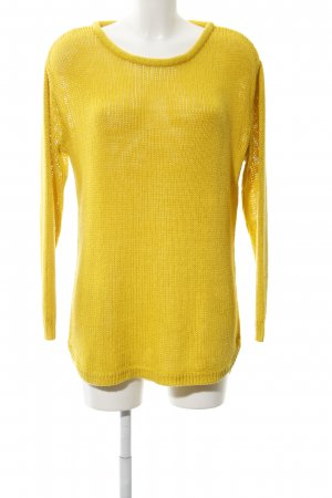 H&M Crochet Sweater dark yellow college style