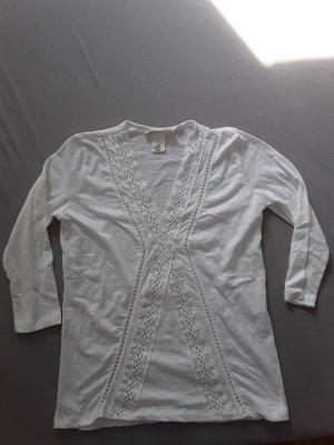 H&M Top en maille crochet blanc-gris clair coton