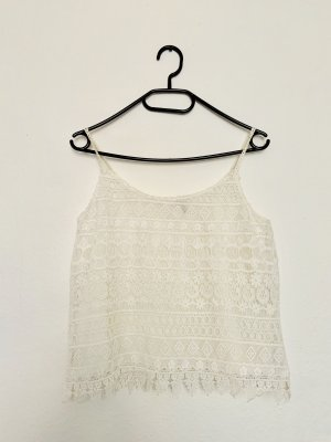 H&M Top de ganchillo blanco