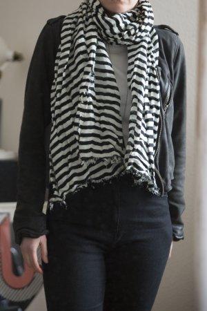 H&M Halstuch schwarz/weiß gestreift
