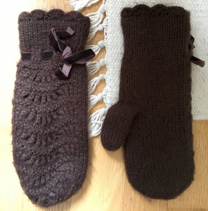 H&M Knitted Gloves brown synthetic fibre